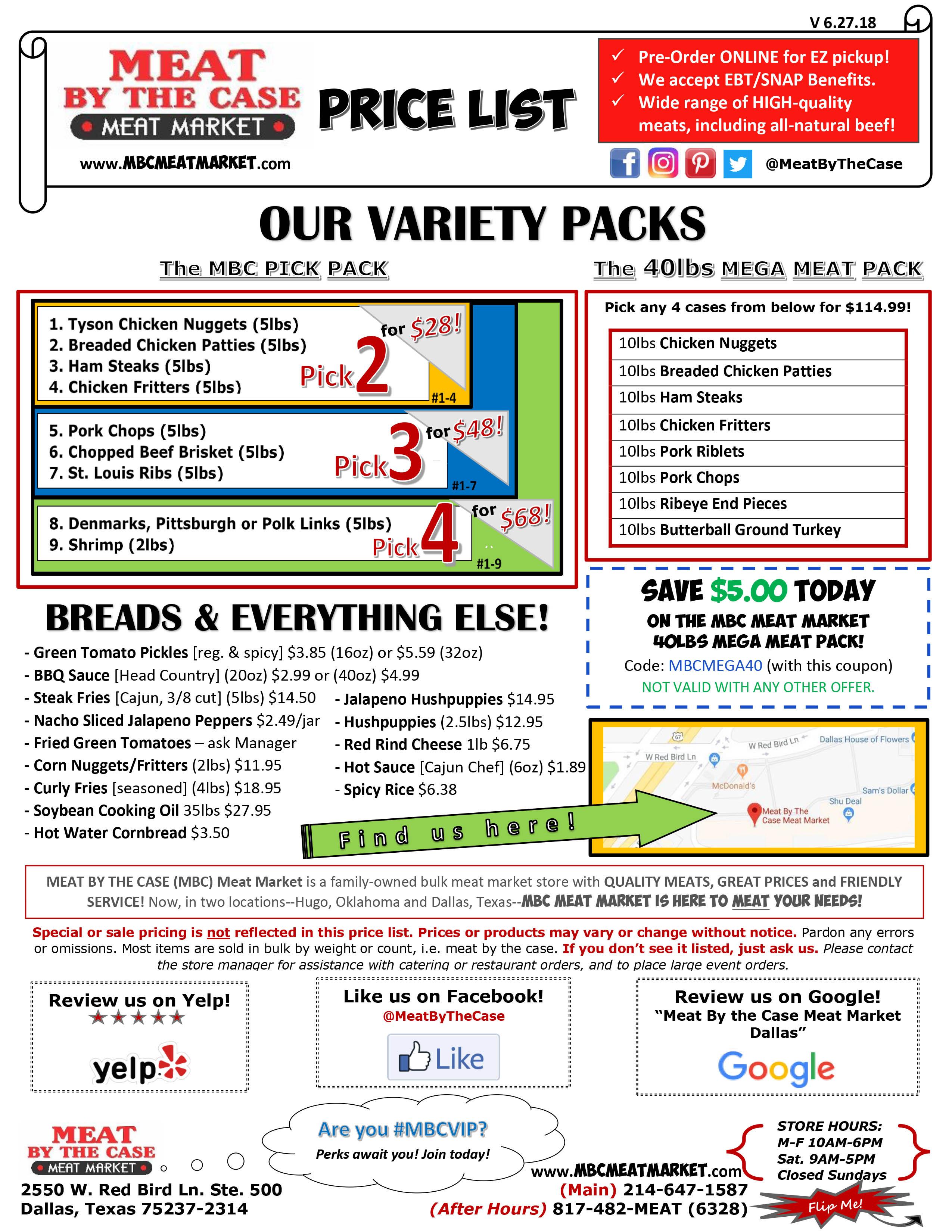 Price List | MBC Meat Market